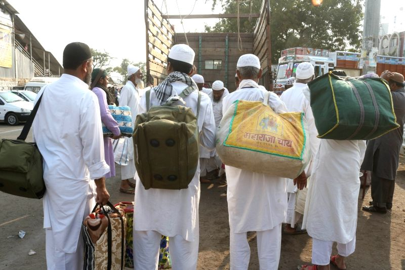 Muslims arrive in Bhopal on the eve of Ijtima - a three day religious congregation in Bhopal, on Nov 27, 2015.