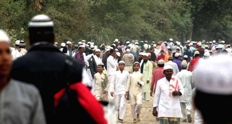 Muslims gathered at Itkhedi during the 2nd day of `Ijtima` International Muslim congregation in Bhopal on Nov 29, 2015.