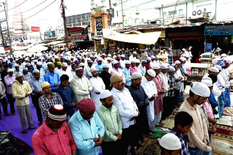 Muslims offer namaz on Ramadan outside Jama Masjid in Patna on June 9, 2017.