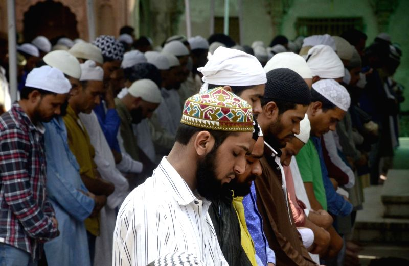 Muslims offer namaz on the first Friday of Ramadan in Bhopal on June 2, 2017.