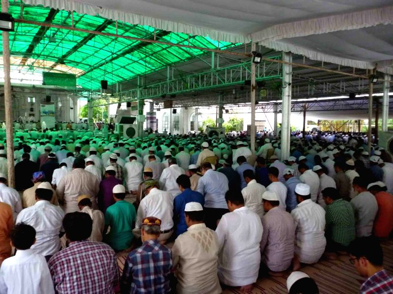 Muslims offer namaz on the first Friday of Ramadan in Hyderabad on June 2, 2017.