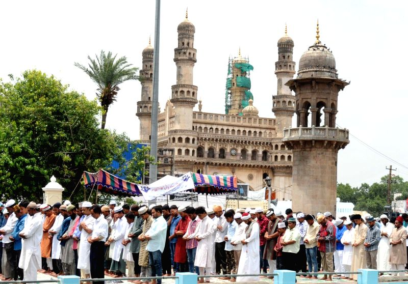 Muslims offering namaz during the holy month of Ramadan at Mecca Masjid in Hyderabad on July 3, 2015.