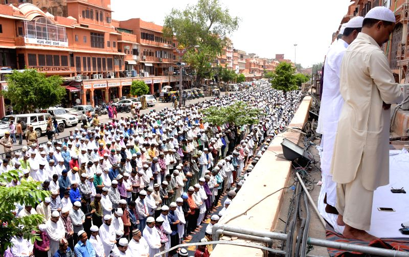 Muslims offering namaz during the holy month of Ramadan at Jama Masjid in Jaipur on July 3, 2015.