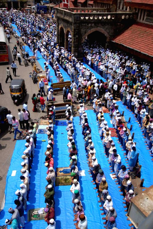 Muslims offering namaz during the holy month of Ramadan in Mumbai on July 3, 2015.
