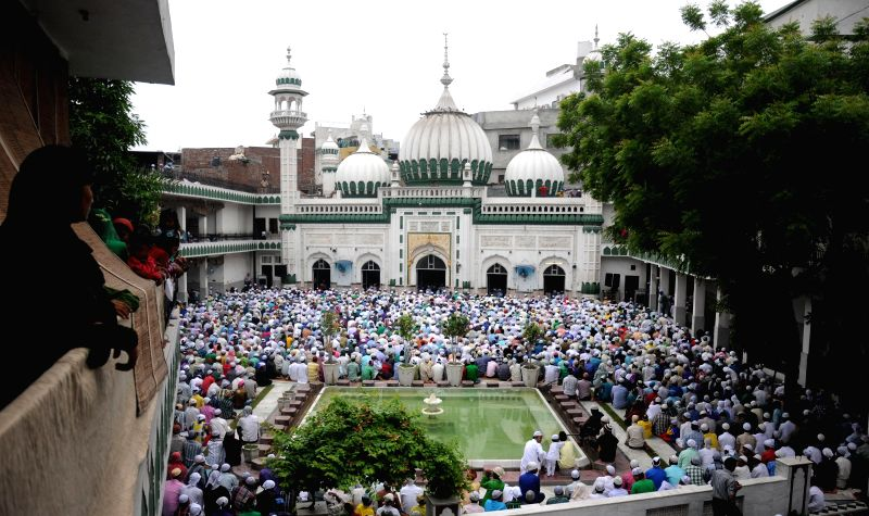 Muslims offering prayers and celebrate at historical mosque Khairudeen on the occasion of Eid ul Fitr in Amritsar on July 29, 2014.