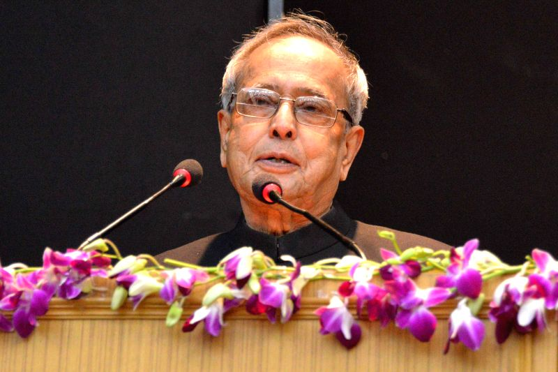 President Pranab Mukherjee addresses during the valedictory function of 89th Foundation Course for All India Services at Lal Bahadur Shastri National Academy of Administration (LBSNAA) in . - Pranab Mukherjee