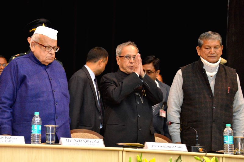President Pranab Mukherjee during the valedictory function of 89th Foundation Course for All India Services at Lal Bahadur Shastri National Academy of Administration (LBSNAA) in Mussoorie . - Harish Rawat and Pranab Mukherjee