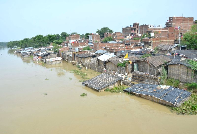 Muzaffarpur: A view of flood hit Mushari block in Muzaffarpur of Bihar on July 15, 2019. (Photo: IANS)