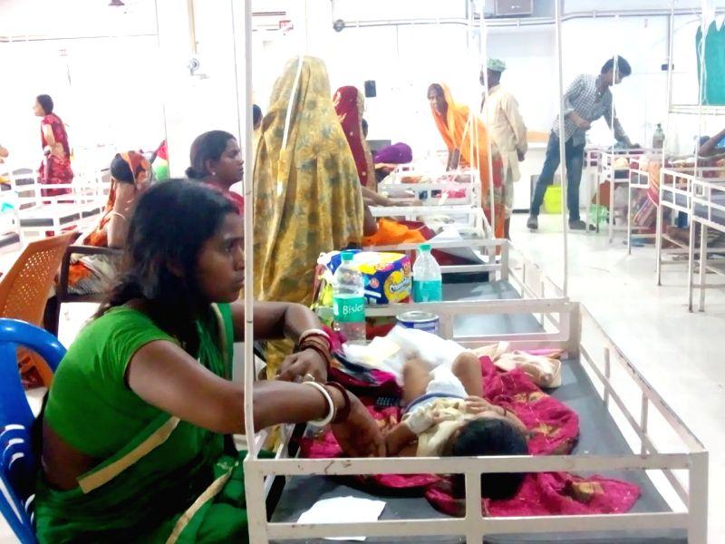 Muzaffarpur: Children with encephalitis symptoms being treated at hospital in Muzaffarpur, Bihar on June 12, 2019.