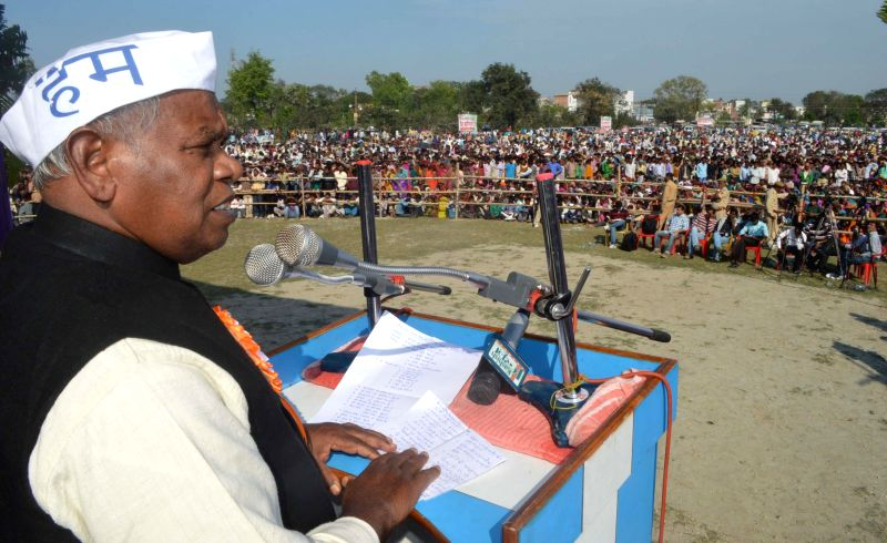 Hindustani Awam Morcha (HAM) leader Jitan Ram Manjhi addresses a rally in Muzaffarpur of Bihar on March 16, 2015.