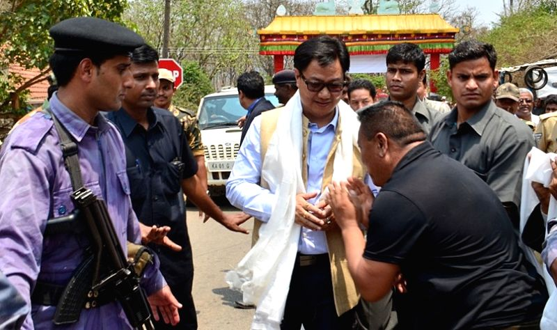 The Union Minister of State for Home Affairs  Kiren Rijiju during his visit to  Tibetan settlement at Bylakuppe in Piriyapattana Taluk of Mysore on March 23, 2015.