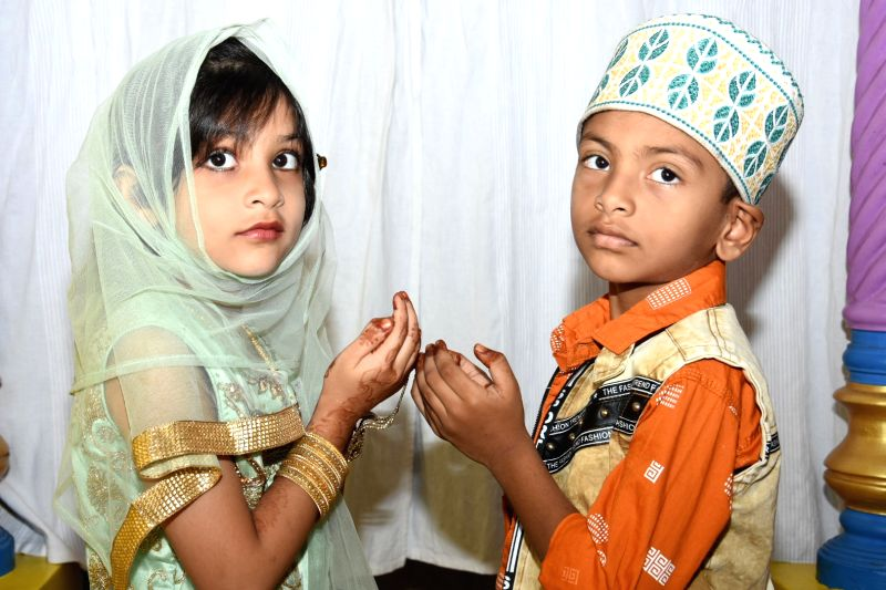 Mysuru: Children offer Eid prayers on the occasion of Eid-Ul-Fitr at their residence in Mysuru during the fourth phase of the nationwide lockdown imposed to mitigate the spread of coronavirus, on May 25, 2020. (Photo: IANS)