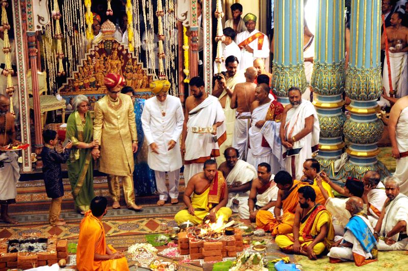 Yaduveer Gopal Raj Urs, the successor of Srikanta Datta Narasimharaja Wadiyar during his adoption ceremony to the Wadiyar dynasty at the Mysore Palace in Mysuru on Feb. 23, 2015.