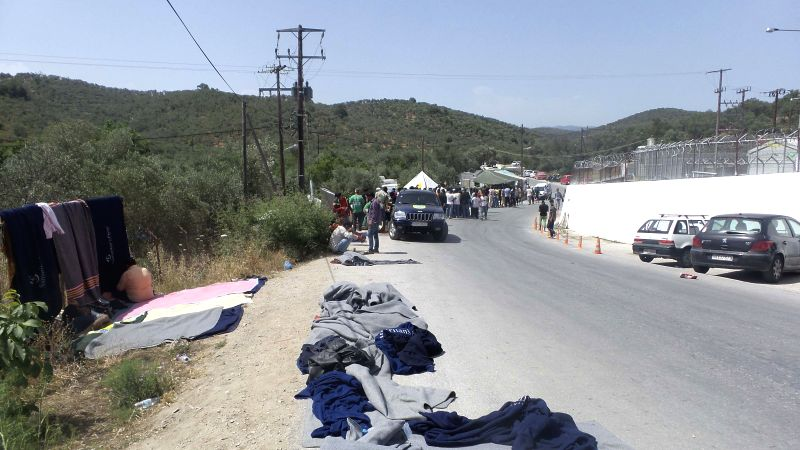 MYTILENE, June 2, 2016 - Photo taken on June 2, 2016 shows the refugee camp of Moria on Greece's Lesvos island. Fifteen refugees were injured with three of them transferred to hospital for further ...