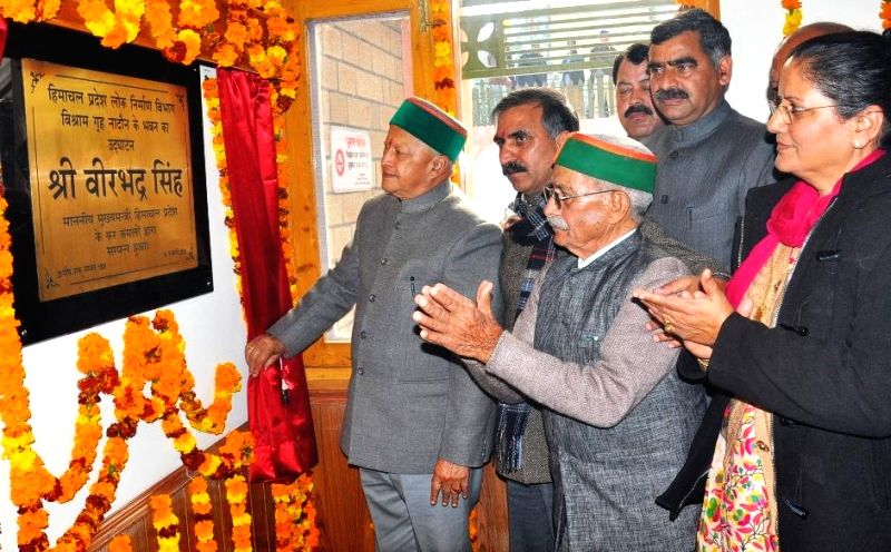 Himachal Pradesh Chief Minister Virbhadra Singh lays foundation stone of Mini Secretariat building at Nadaun in Hamirpur district of the state, on Jan 19, 2015.