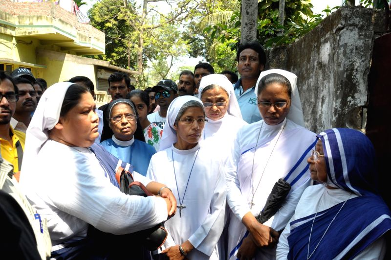 Nuns participate in a demonstration against the gang rape of a nun in Nadia's Ranaghat in West Bengal on March 15, 2015.