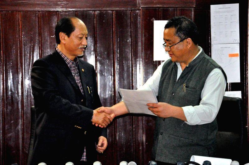 Nagaland Chief Minister and NPF leader Neiphiu Rio after winning Nagaland Lok Sabha seat in Kohima on May 16, 2014.