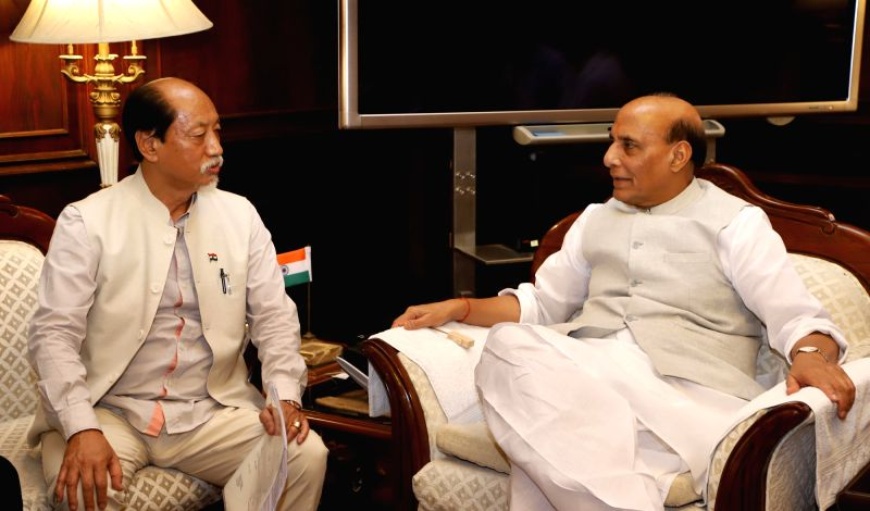 Nagaland Chief Minister Neiphiu Rio calls on Union Home Minister Rajnath Singh, in New Delhi on June 12, 2018. ( Photo: IANS/PIB) - Neiphiu Rio and Rajnath Singh