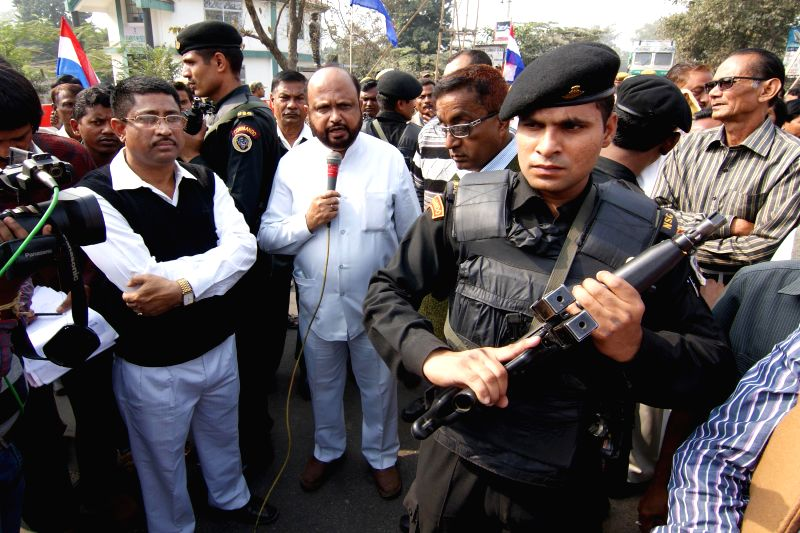 AGP leader Prafulla Kumar Mahanta addresses during a rally organised to protest against Indo- Bangladesh land swap deal in Nagaon district of Assam on Dec 8, 2014. - Prafulla Kumar Mahanta