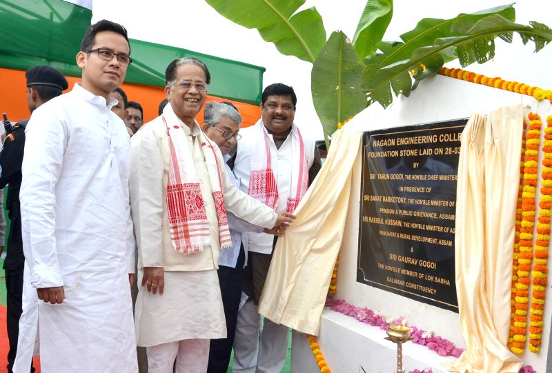Assam Chief Minister Tarun Gogoi lays the foundation stone of Nagaon Engineering College at Rongagora ,Nagaon district, Assam on March 28, 2015.