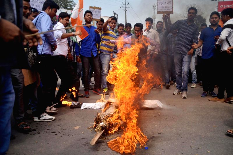 NSUI workers stage a demonstration against BJP leader Subramanian Swamy in Nagaon of Assam on March 16, 2015.