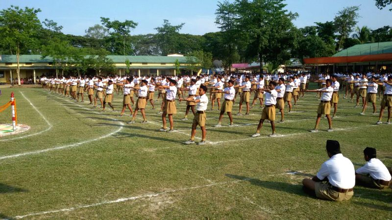 RSS volunteers during a programme in Nagaon of Assam on May 10, 2015.