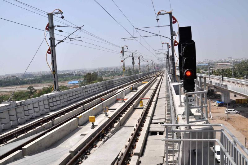 The Minister of State for Labour and Employment (Independent Charge) Bandaru Dattatreya inspects the Hyderabad Metro Rail depot, in Nagole, Hyderabad on May 2, 2015.