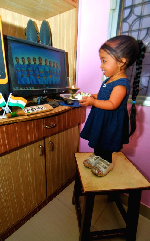 Actress and worlds smallest living woman (according to Guinness World Records) Jyoti Amge prays for the victory of the Indian cricket team in the ongoing ICC World Cup 2015; in Nagpur on ...