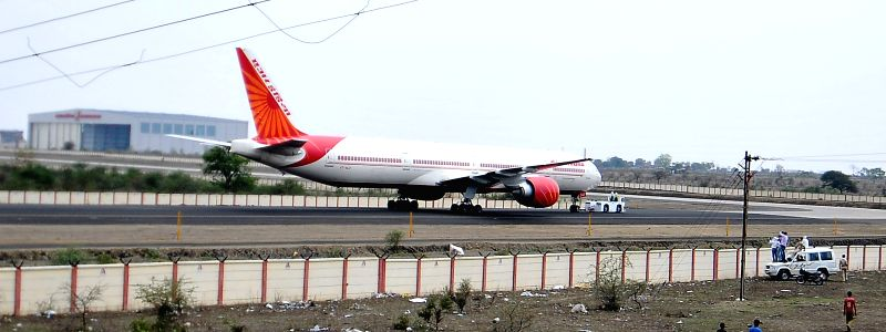 An Air India aircraft arrives at the maintenance, repair and overhaul (MRO) facility in Nagpur on April 22, 2015. The facility has been built by Boeing.