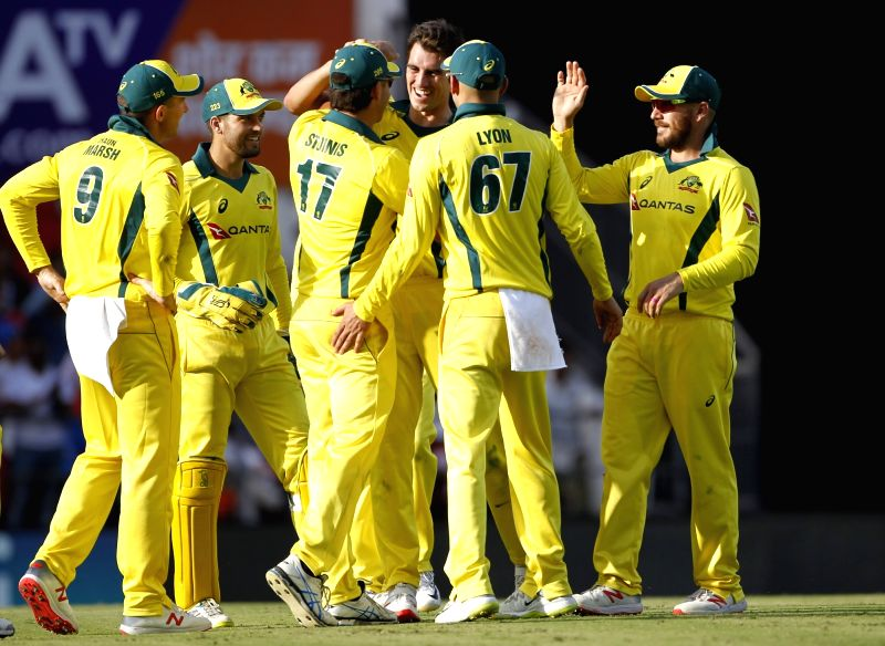 Nagpur: Australia's Pat Cummins celebrates fall of Virat Kohli's wicket during the second ODI match against India at Vidarbha Cricket Association (VCA) Stadium, in Nagpur, on March 5, 2019. (Photo: Surjeet Yadav/IANS)