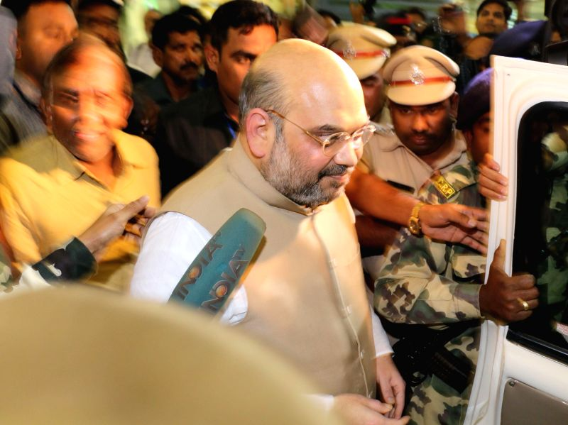 BJP chief Amit Shah arrives in Nagpur on March 12, 2015.