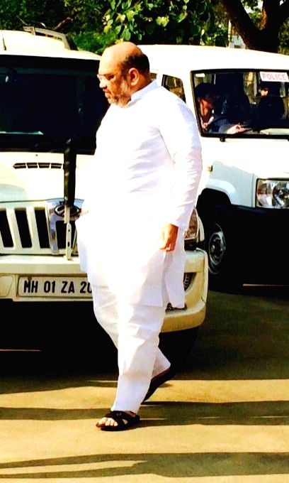 BJP chief Amit Shah arrives to attend the inaugural session of RSS' Akhil Bharatiya Pratinidhi Sabha - ABPS in Nagpur, on March 13, 2015.