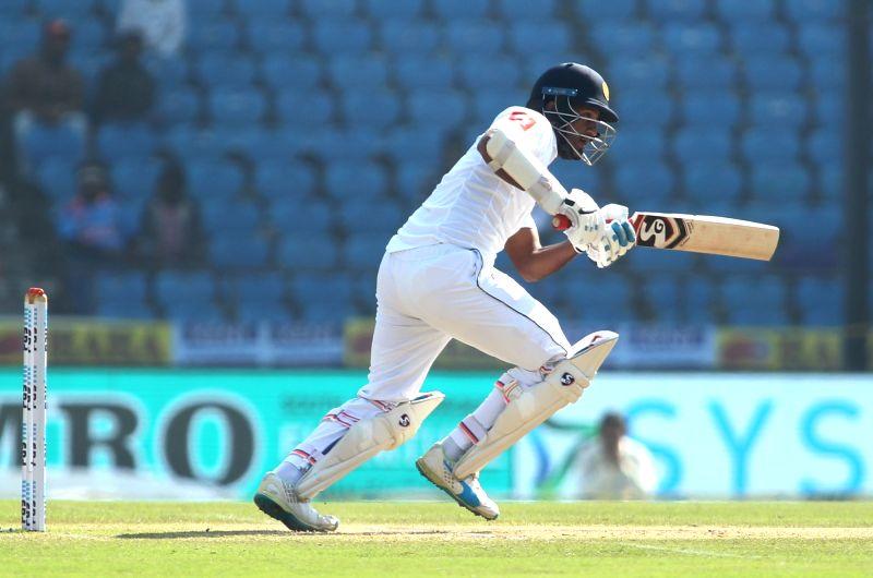 Nagpur: Dimuth Karunaratne of Sri Lanka in action on Day 4 of the second test match between India and Sri Lanka at Vidarbha Cricket Association Stadium in Nagpur on Nov 27, 2017. (Photo: Surjeet Yadav/IANS)