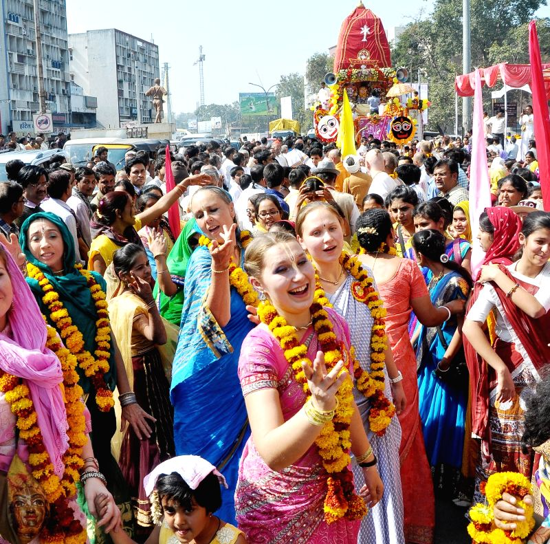 Foreigners participate in Jagannath Rath Yatra organised by ISKCON in Nagpur, on Jan 16, 2015.