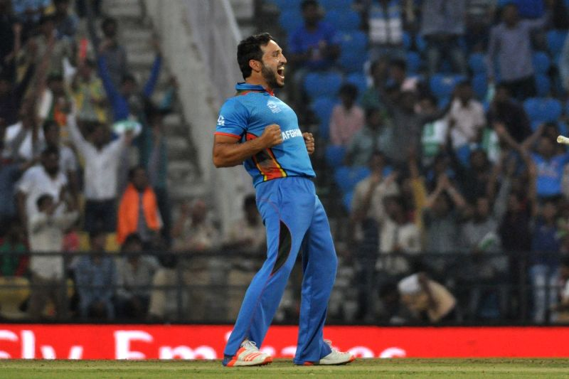 Nagpur: Hamid Hassan of Afghanistan celebrates fall of a wicket  during a WT20 match between West Indies and Afghanistan at Vidarbha Cricket Association Stadium, Jamtha in Nagpur on March 27, 2016. (Photo: Nitin Lawate/IANS)