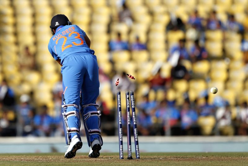Nagpur: India's Kuldeep Yadav gets bowled during the second ODI match between India and Australia at Vidarbha Cricket Association (VCA) Stadium, in Nagpur, on March 5, 2019. (Photo: Surjeet Yadav/IANS)