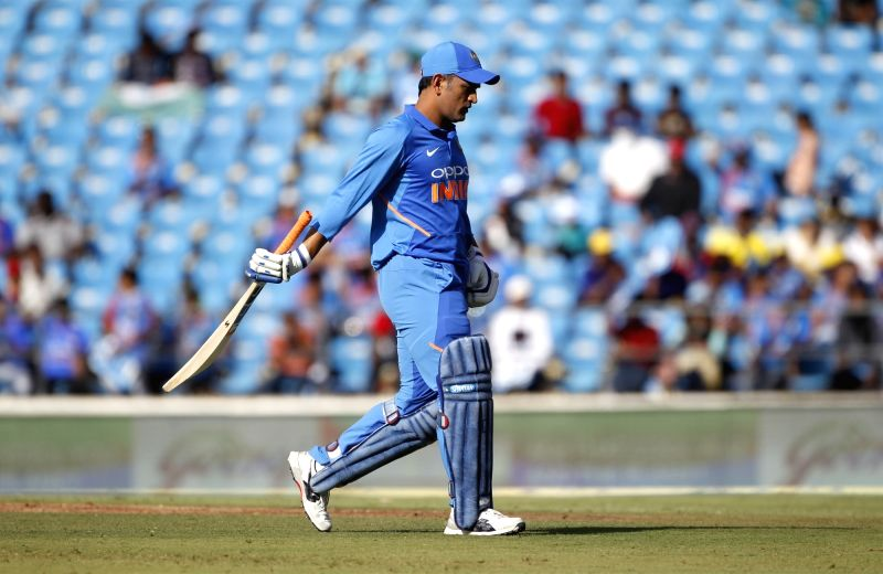Nagpur: India's MS Dhoni walks back to the pavilion after losing his wicket during the second ODI match between India and Australia at Vidarbha Cricket Association (VCA) Stadium, in Nagpur, on March 5, 2019. (Photo: Surjeet Yadav/IANS)