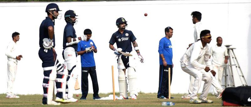 Nagpur : Indian Captain Virat Kohli (C) during a practice session in Vidarbha Cricket Association (VCA) Stadium ahead of their 3rd test match against South Africa in Nagpur on Nov. 24, 2015. - Virat Kohli