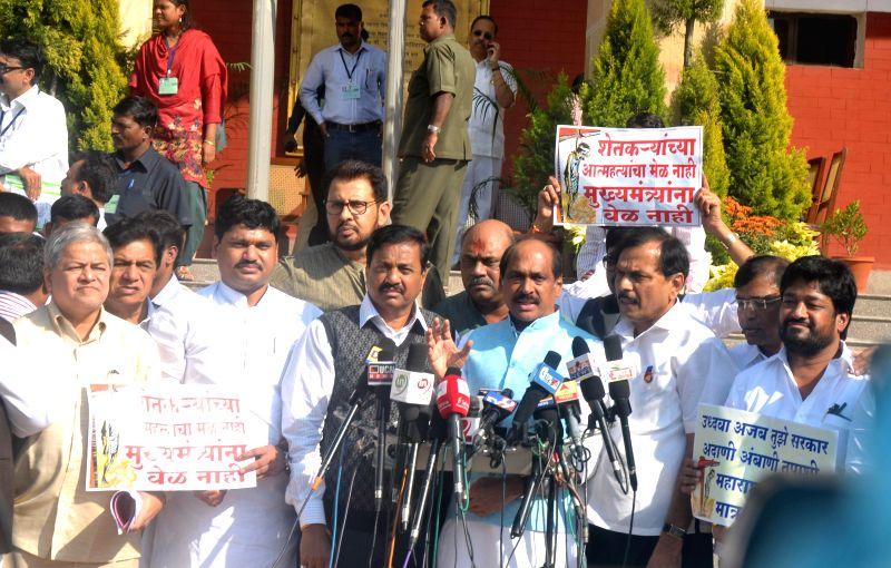 Maharashtra Congress chief Manikrao Thakre addresses a press conference regarding the plight of farmers at Vidhan Bhavan in Nagpur, on Dec 9, 2014.