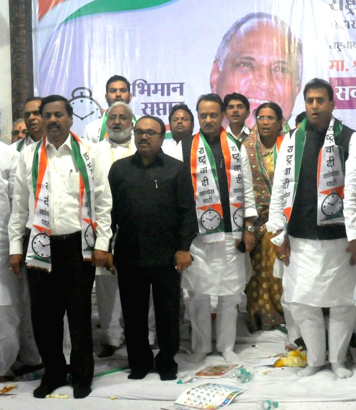 NCP leaders Sunil Tatkare, Chhagan Bhujbal, Ajit Pawar and others during a programme organised to celebrate the 75th birthday of party chief and Rajya Sabha member Sharad Pawar in Nagpur, on .