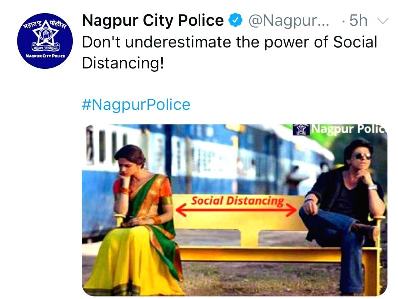 Nagpur Police uses still from SRK's 'Chennai Express' to create awareness on COVID-19.