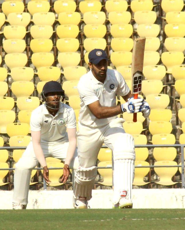 Nagpur: Rest of India (RoI) batsman Hanuma Vihari in action on the First Day of Irani Cup match between Rest of India and Vidarbha at Vidarbha Cricket Association Stadium, in Jamtha, Nagpur on Feb 12, 2019. (Photo: IANS)