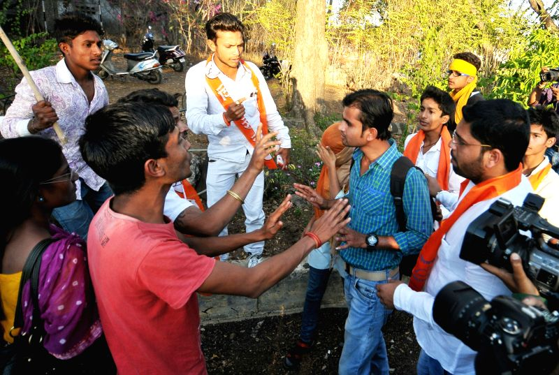 Right wing activists disturb couples celebrating Valantine's Day  in Nagpur, on Feb 14, 2015.