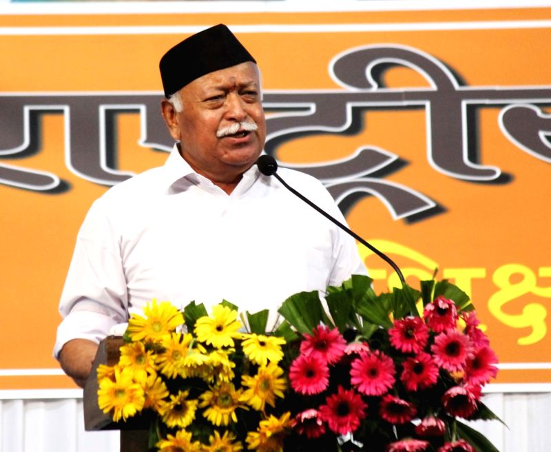 """:Nagpur: RSS chief Mohan Bhagwat addresses at the concluding function of """"Tritiya Varsh Varg"""" in Nagpur on June 7, 2018. (Photo: IANS)."""