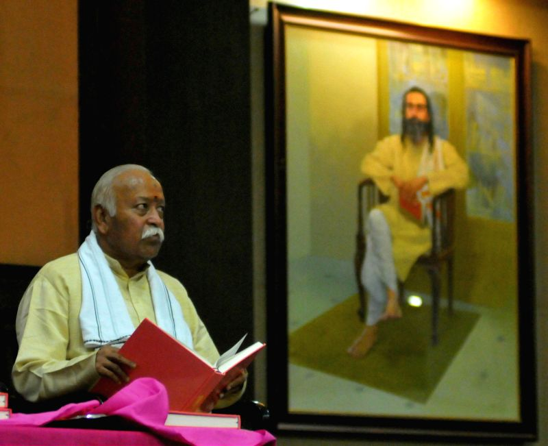 RSS chief Mohan Bhagwat during a programme of Punorutthan Vidyapeeth at RSS headquarters in Nagpur, on Nov 25, 2014.