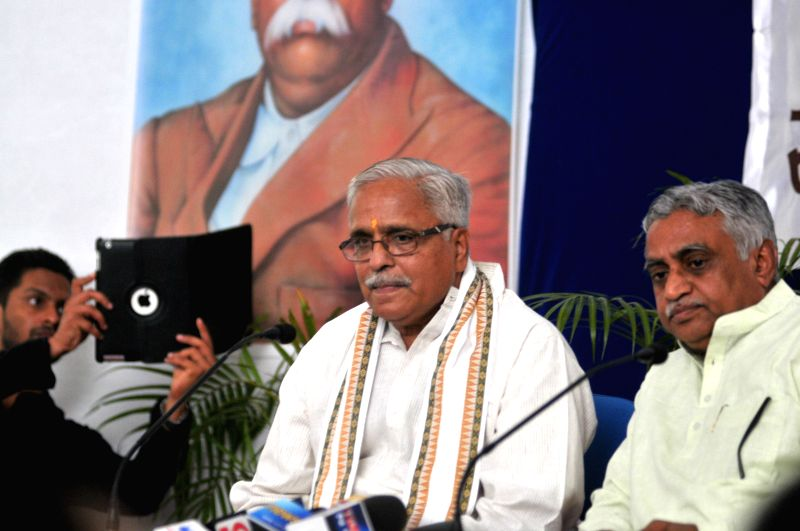 RSS General Secretary Suresh Bhaiyyaji Joshi addresses a press conference in Nagpur, on March 15, 2015.