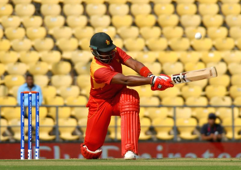 Nagpur: Zimbabwe's H Masakadza in action during the 1st Match (First Round, Group B) of ICC World T20 between Hong Kong and Zimbabwe at Vidarbha Cricket Association Stadium in Nagpur on March 8, 2016. (Photo: Nitin Lawate/IANS)