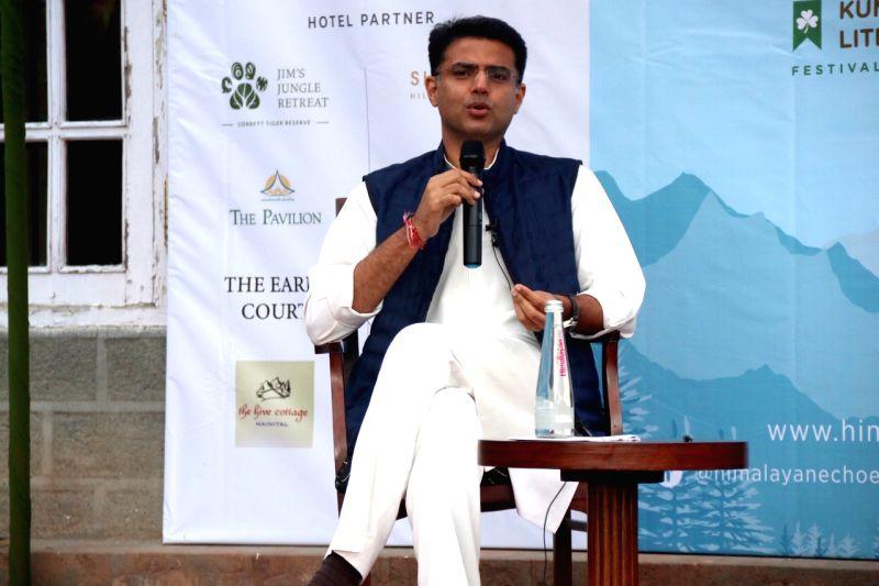 Nainital: Rajasthan Deputy Chief Minister Sachin Pilot during the fourth edition of Himalayan Echoes: Kumaon Festival of Literature and Arts in Nainital on Oct 20, 2019. (Photo: IANS)