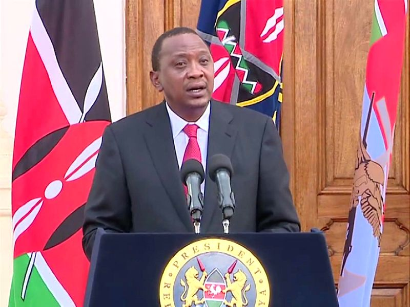 The clip of video provided by Kenyan State House shows that Kenya's President Uhuru Kenyatta  delivers a statement after a terrorist attack at a local university in ...