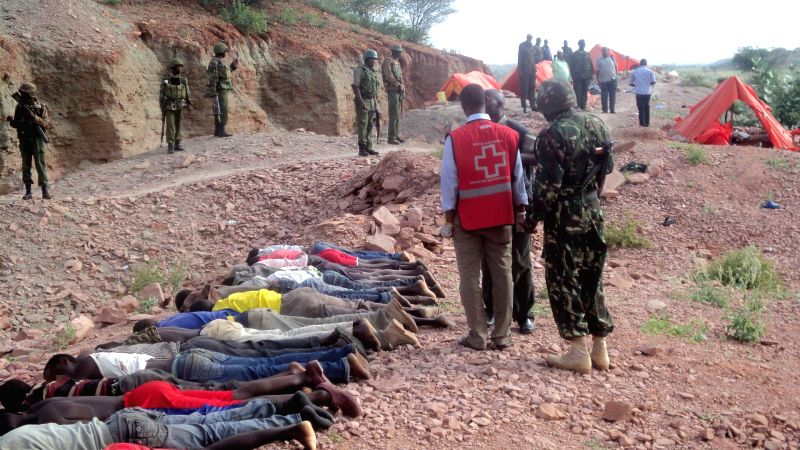 Bodies of victims are seen at a quarry at Koromey area in the outskirts of Mandera town, Kenya, Dec. 2, 2014. Kenyan presidential spokesman Manoah Esipisu said Tuesday heavily armed bandits .